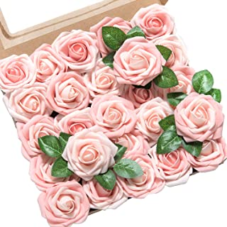 Ling's moment Roses Artificial Flowers 50pcs Pink Heirloom Roses w/Stem for DIY Wedding Bouquets Centerpieces Bridal Shower Party Home Decorations