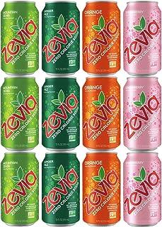 ZEVIA Soda (12 Pack) Mountain Zevia, Strawberry, Ginger Ale, Orange, Refreshing, Tasty and Naturally Sweetened