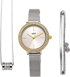Burgi BUR216 Women's Jewelry Gift Set – Swarovski Crystal Bezel Watch, Beaded Chain Link Necklace and Crystal Bracelet – Flash Plated Gold and Silver