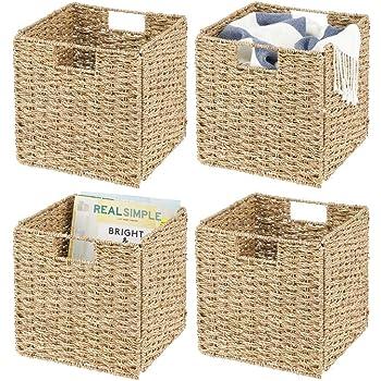Cestas de almacenaje ideales para guardar ropa Cajas de almacenaje plegables de jacinto de agua gris Con pr/ácticas asas juguetes o revistas mDesign Juego de 2 cestas organizadoras