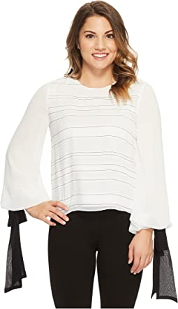 Vince Camuto Specialty Size - Petite Tie Cuff Bubble Sleeve Sheer Jacquard Stripe Blouse