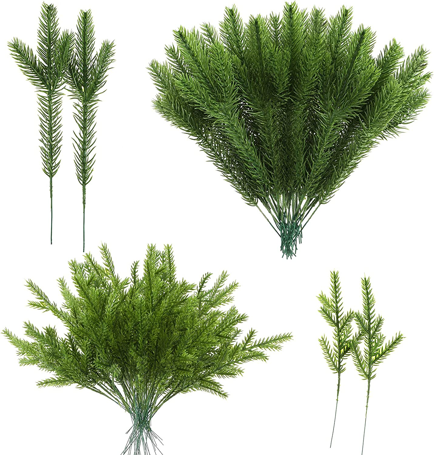 50 Pieces Artificial Pine Needles Branches Christmas Artificial Pine Branches Christmas Tree Branches Fake Greenery Pine Picks for DIY Garland Christmas Home and Party Wall Door Decor, 2 Styles