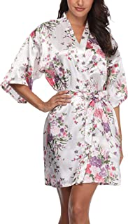M.Mystery Women's Floral Robe Short Silk Bridal Bathrobe Satin Kimono Wedding Sleepwear