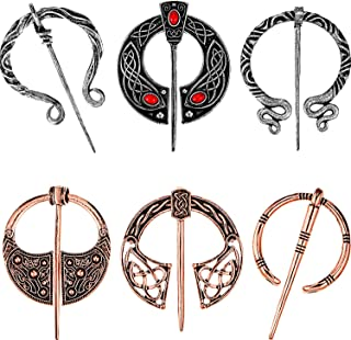 Hicarer 6 Pieces Vintage Viking Brooches Cloak Pins Scarf Shawl Buckle Clasp Pin Brooch Penannular Brooch for Men Women Costume Accessory, Antique Silver and Rose Gold