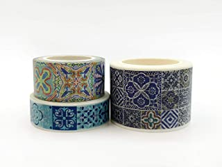 Blue Mediterranean Tiles washi Tape Set. INCL Extra Wide Tape. for scrapbooks, Crafts, Gift Wrapping, Wall Paper Borders, and Decorating