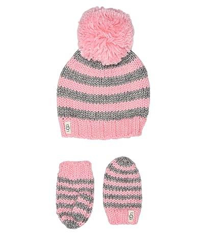 UGG Kids Chunky Stripe Knit Hat and Mitten Set (Toddler/Little Kids) (Seashell Pink) Caps