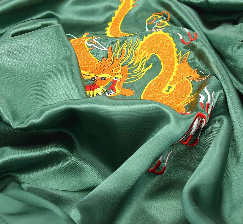 Laciteinterdite Damen Morgenmantel chinesischer japanisher Kimono Grün