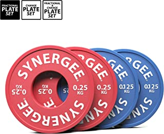 Synergee Fractional Plates and Change Plates 0.125 kg, 0.25 kg, 0.5 kg.0.5 kg, 1.0 kg, 1.5 kg, 2.0 kg and 2.5 kg Set. Incremental Weights for Powerlifting, Olympic Lifting, and Strength Workouts
