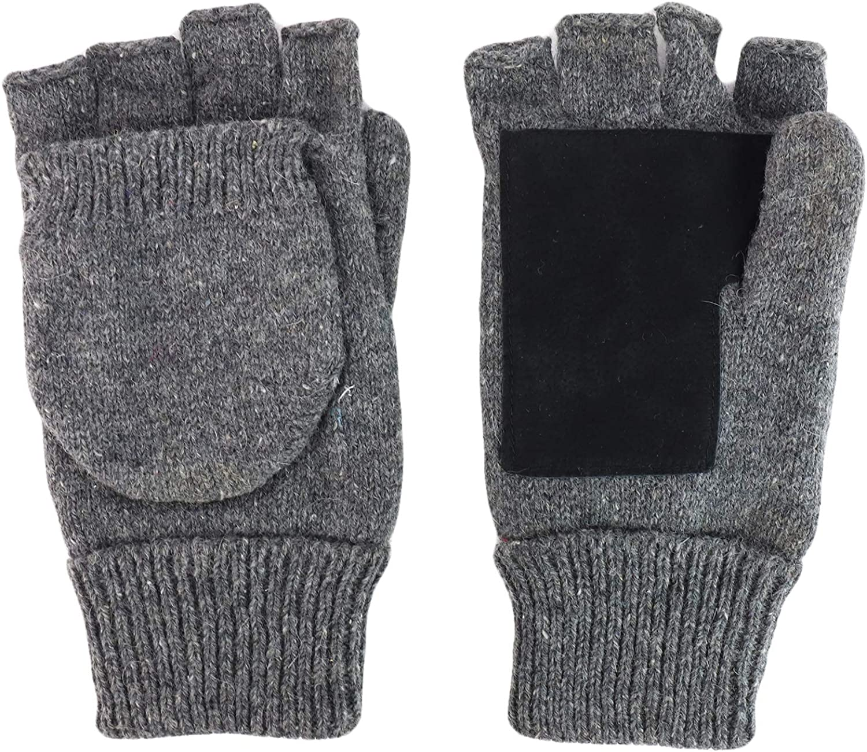 Armycrew Men's Ragg Wool Fingerless Flip Top Winter Glove With Suede Palm