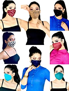 MASK PLUS 3 Layer Printed Cotton Face Mask for Women- FASHION PACK OF 8 Reusable & Washable Anti Pollution Free Size