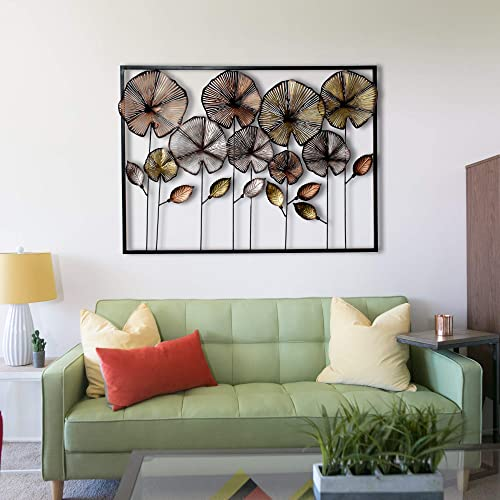 823ceb7103 Craftter Colorful Flowers in Frame Metal Wall Décor Hanging Large Wall  Sculpture Art