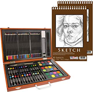 """U.S. Art Supply 82 Piece Deluxe Art Creativity Set in Wooden Case with 2-Pads of 9""""x12"""" 90 Pound 30 Sheet Sketch Books"""