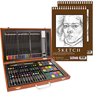 U.S. Art Supply 82 Piece Deluxe Art Creativity Set in Wooden Case with 2-Pads of 9