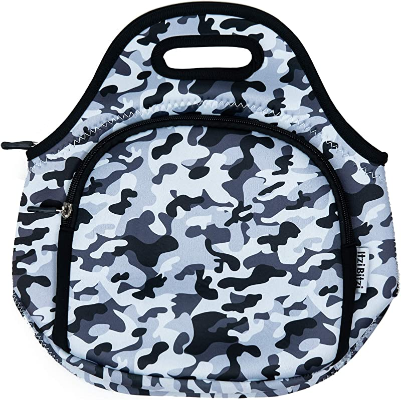 ITZI BITZI Army Grey Camouflage Thermal Neoprene Lunch Bag For Boys Girls And Adults Insulated School Camo Lunch Box For Kids Tote Reusable And Machine Washable With Double Zipper Pockets