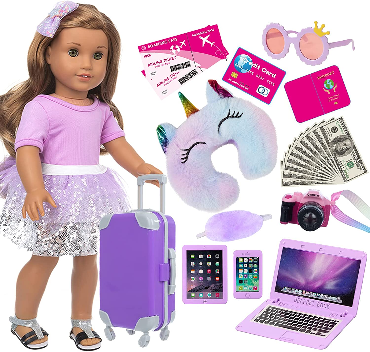 ZNTWEI American 18 New product type Inch Girl Doll Travel Set Play Outlet SALE with Suitcase