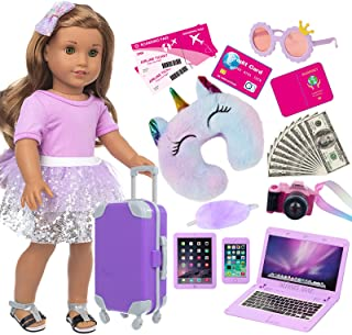 ZNTWEI American 18 Inch Girl Doll Travel Suitcase Play Set with 18 Inch Doll Clothes and Accessories Including Sunglasses ...