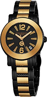 Charriol Parisii Womens Yellow Gold and Black Stainless Steel Watch - 33mm Analog Black Face with Second Hand, Date and Sapphire Crystal Ladies Watch - Two Tone Swiss Made Quartz Watches for Women
