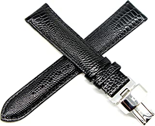 18MM Black Lizard Grain Genuine Leather Watch Strap Band 7.5 Inches with Silver LP Clasp