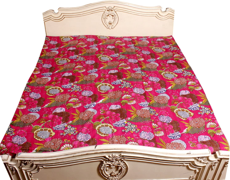 Kantha Stitch Quilt Floral Regular dealer Print Bo Single Cover Bedspread Bed Brand Cheap Sale Venue