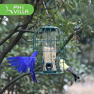 PHI VILLA Wild Bird Feeder Squirrel Proof - Caged Tube Feeder, Green