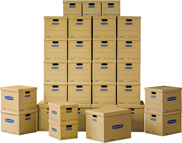 Bankers Box SmoothMove Classic Moving Kit Boxes Tape Free Assembly Easy Carry Handles 5 Small 20 Medium 5 Large 30 Pack 7716502