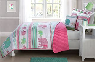 MK Home Mk Collection 3pc Twin Size Reversible Coverlet Bedspread Set Elephant Pink White Teal Light Green Light Blue New