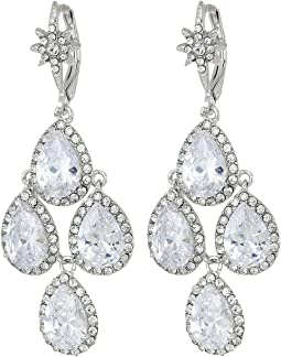 Betsey Johnson Blue by Betsey Johnson Silver Tone Chandelier with Crystal CZ Teardrop-Shaped Stones and Star Accent Earrings