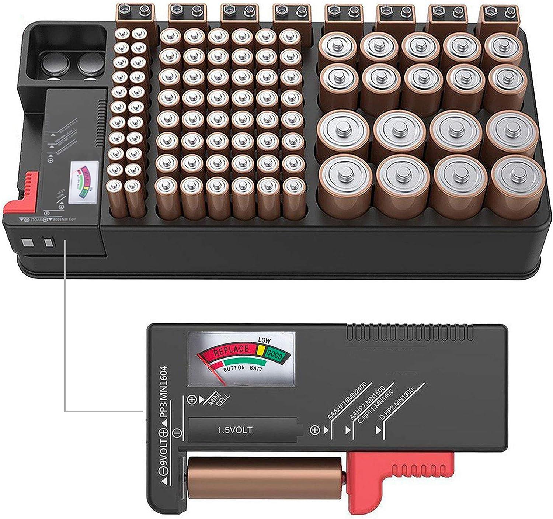 ZeroDark Battery Storage Organizer Case with Battery Tester, Holds 110 Batteries Various Sizes