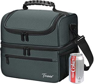 Extra Large Lunch Bag - 13L/ 22 Can, Insulated & Leakproof Adult Reusable Meal Prep Bento Box Cooler Tote for Men & Women with Dual Compartment By Tirrinia, Grey