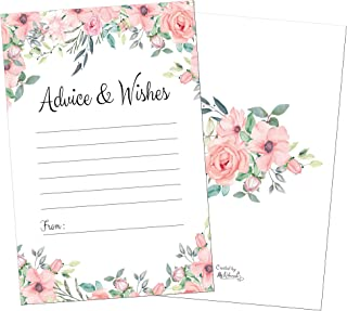 50 Floral Pink Advice Cards-Words of Wisdom-Marriage-Wedding Advice Cards-Bridal-Baby Shower Party Games-Guest Book Alternative-Note Card Retirement-Best Wishes for Mr and Mrs-Graduation Advice Cards