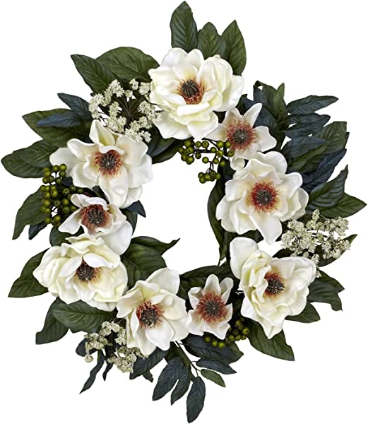 Nearly Natural 4793 22in Magnolia Wreath