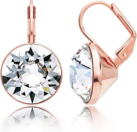 4b531b10aeea MYJS Bella Statement Earrings Clear Swarovski Crystal Rose Gold Plated