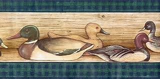 Ducks Lodge Hunting Birds Wallpaper Border - Green Plaid…