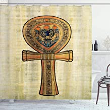 Ambesonne Egyptian Shower Curtain, Papyrus Presenting The Key of Life Traditional Empire Egyptian Print, Cloth Fabric Bathroom Decor Set with Hooks, 70 Long, Cream Orange