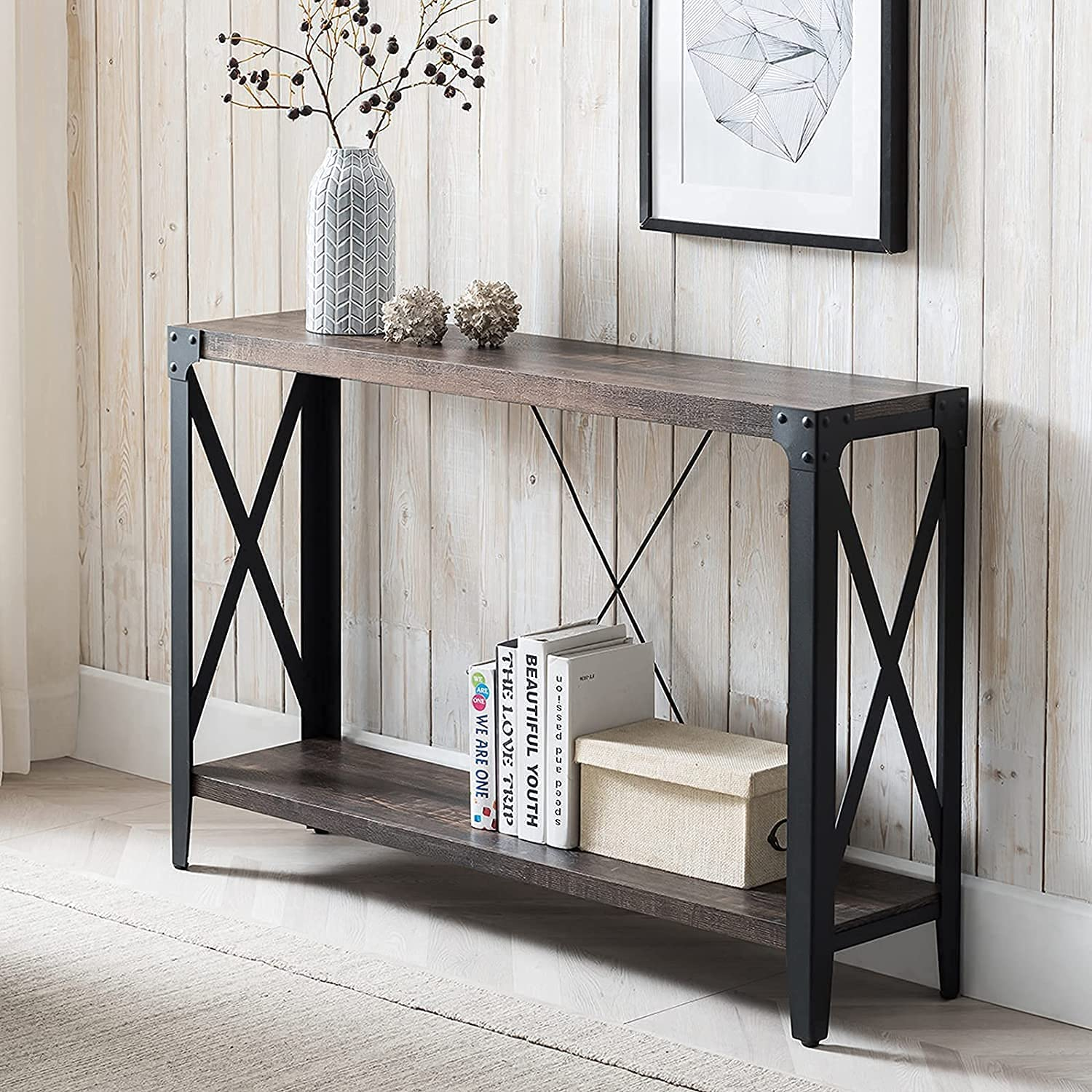 OKD Console Tables for Entryway, Hallway Table, 2-Tier Entrance Tables, Industrial Long Tables for Living Room, with Storage and X-Frame Open Shelf, Easy Assemble, Dark Rustic Oak