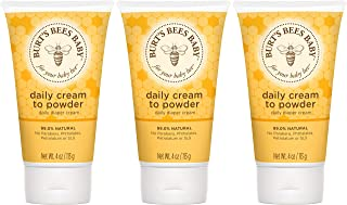 Burt's Bees Baby Daily Cream to Powder, Talc-Free Diaper Rash Cream - 4 Ounces Tube - Pack of 3