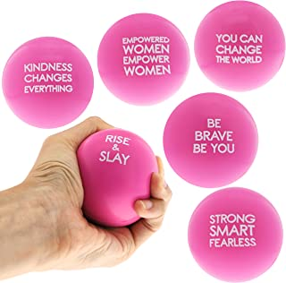 Juvale Pink Girl Power Stress Balls for Women with Motivational Feminism Sayings (6 Pack)