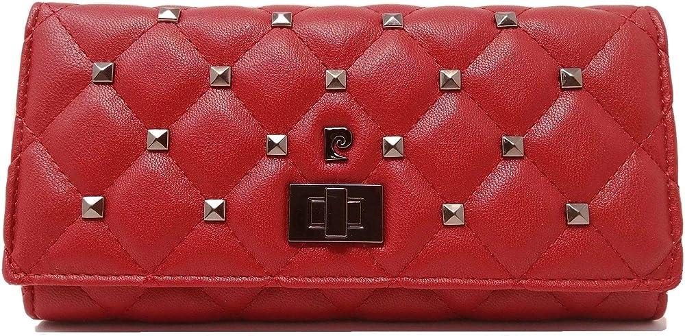 Pierre cardin, porta carte di credito, portafoglio da donna, in ecopelle e piccole borchie in metallo, rosso