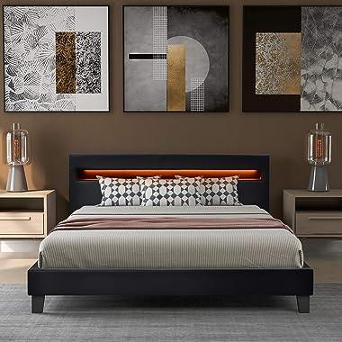 Itopfoxeu Sommier rembourré à LED - Housse en cuir synthétique et structure en bois noir - Avec éclairage LED - Cuir synthéti