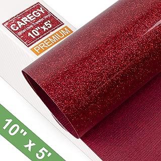 Glitter 10Inx5ft Red Heat Transfer Vinyl Roll(HTV) for T-Shirt Clothing Garment Bags