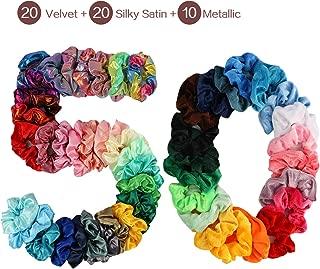 50 Pcs Hair Scrunchies for Girls Women - 20 Velvet 20 Silky Satin 10 Shiny Metallic Elastics Hair Bands Scrunchy Colorful Hair Ties Ropes Ponytail Holder Hair Accessories