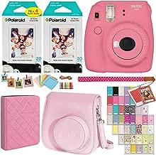 Fujifilm Instax Mini 9 Instant Camera (Flamingo Pink), 2 x Twin Pack Instant Film (40 Sheets), Camera Case, Photo Album, Square Photo Frames & Accessory Bundle
