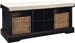 Crosley Furniture CF6003-BK Brennan Entryway Storage Bench with Wicker Baskets and Cushion, Black