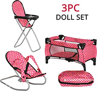 Exquisite Buggy 3 Piece Doll Play Set, Includes - 1 Pack N Play. 2 Doll Stroller 3.Doll High Chair. 4 Infant Seat, Fits Up to 18'' Doll (3 PIECE SET)