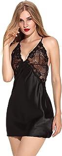 Women Lingerie V Neck Nightwear Satin Sleepwear Lace Chemise Mini Teddy   Sleepwear Nightgown  Babydoll