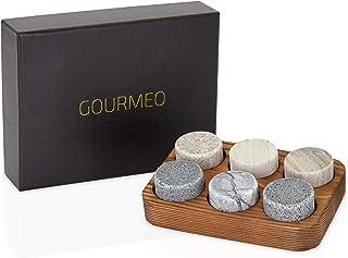 GOURMEO Whisky Steine 6 Stück aus Marmor und Granit I wiederverwendbare Eiswürfel, Whiskysteine, Whisky Stones, Kühlsteine