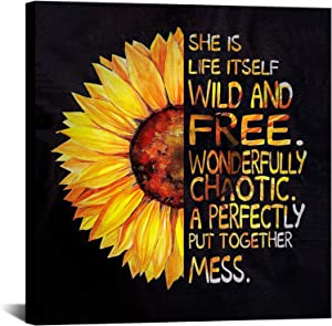 Inspirational Wall Art Sunflower Poster Prints Quote Motivational Wall Art Framed Pictures Office Wall Decor Artwork for Bathroom Living Room Bedroom 24x24