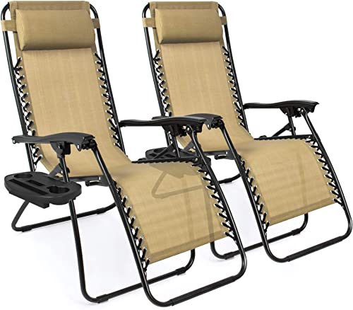 Best Choice Products Set of 2 Adjustable Steel Mesh Zero Gravity Lounge Chair Recliners w/Pillows and Cup Holder Tray...