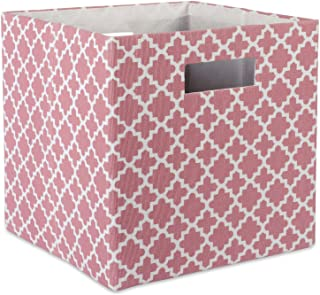 DII Boîte de rangement pliable en tissu rigide pour crèche, bureau et organisation de la maison (33 x 33 x 33 cm) – Rose t...