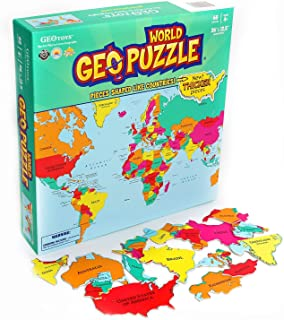GeoToys — GeoPuzzle World — Educational Kid Toys for Boys and Girls, 68 Piece Geography Jigsaw Puzzle, Jumbo Size Kids Puz...